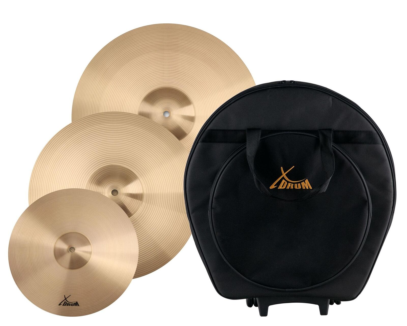 Percussion Drum Cymbal Set 12  splash 16  Crash 18  Ride Gigbag Trolley Padded