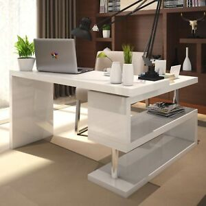 incredible white office desk furniture   White High Gloss Large Computer PC Home Executive Study ...