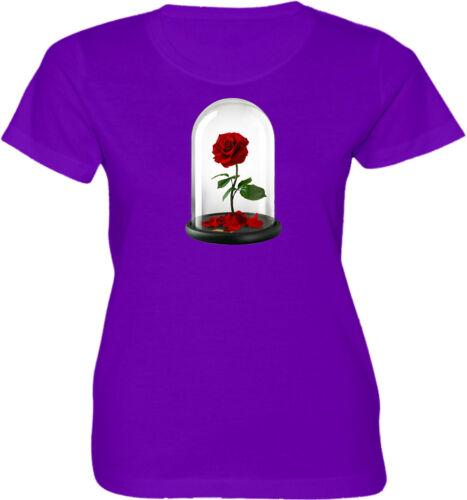 Disney Enchanted Rose of Beauty and the Beast Women Junior Girl Cartoon T-Shirt