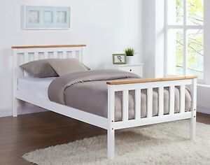 Etonnant Details About White Pine Oak Top Wooden Bed Frame Double Single Size And  With Mattress