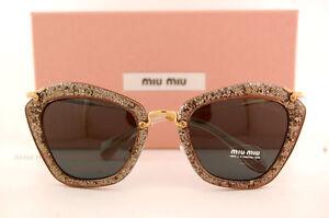 fbc62944fd4 Brand New Miu Miu Sunglasses MU 10N 10NS 1AH1A1 SMOKE GLITTER GREY ...