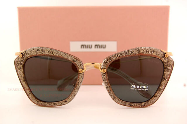 13211ad4850 Brand New Miu Miu Sunglasses MU 10N 10NS 1AH1A1 SMOKE GLITTER GREY Women