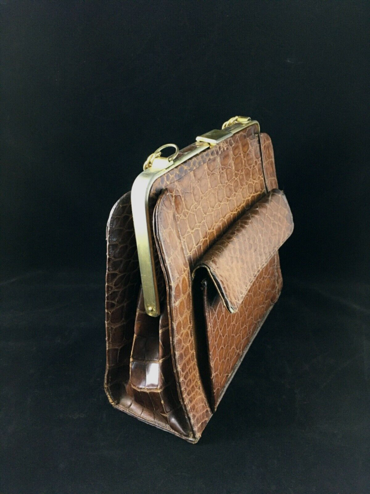 RENDL Original 1960 Vintage Black Leather Handbag  Red Leather Lining  Gold Tone Chain Strap