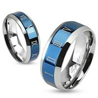 Stainless Steel Wedding Engagement Band Blue Ip Center With Roman Numerals Ring