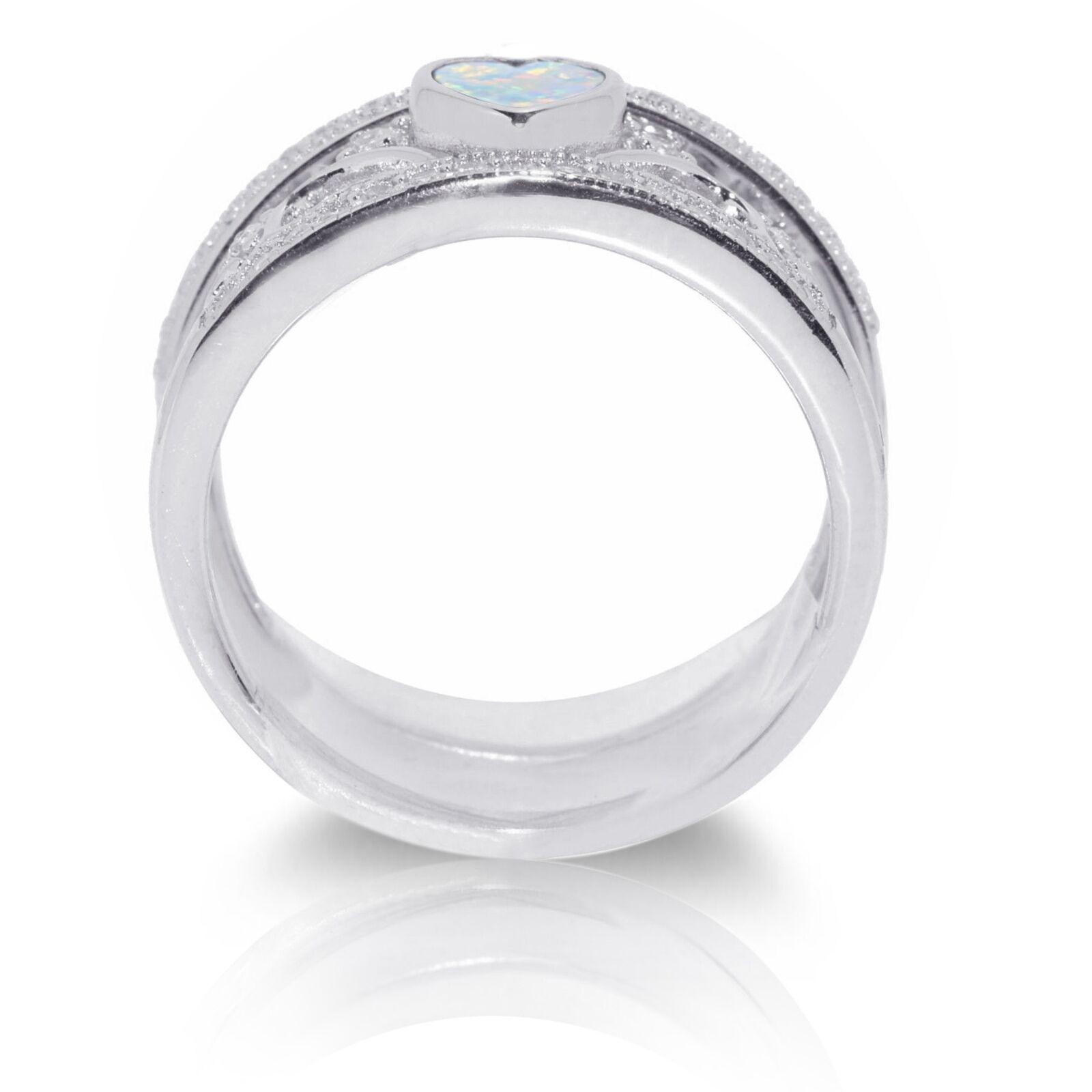 Cuore Claddagh Claddagh Claddagh Celtico Bianco Opale Matrimonio Fidanzamento e3f7de
