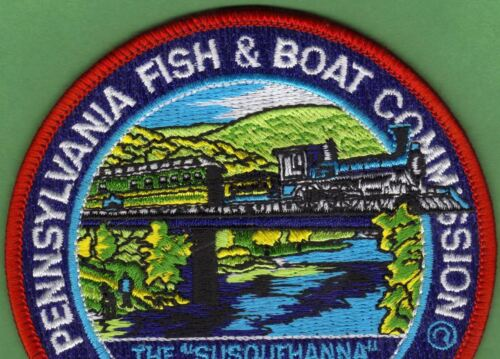 """Pa Pennsylvania Fish Game Commission NEW 4/"""" 1999 Penns Creek Train Fishing Patch"""