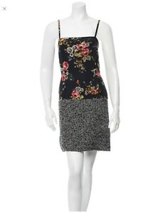 D-amp-G-2-XS-Sexy-Red-Black-Gray-Rare-Floral-Tweed-Luxury-Designer-Womens-Mini-Dress