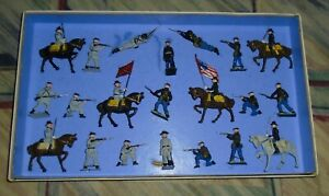 Vintage-Lead-Johillco-John-Hill-amp-Co-034-UNION-amp-CONFEDERATE-SOLDIERS-034-Boxed-Set
