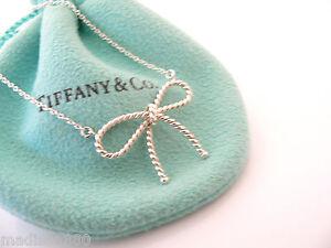 1efcea1ed Tiffany & Co Silver Twisted Twist Ribbon Bow Necklace Pendant Charm ...