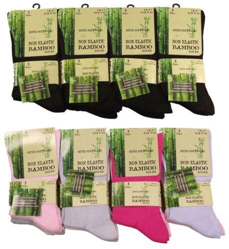 3//6//12 Pairs Ladies Non Elastic Bamboo Loose Top Super Soft Socks 4-7