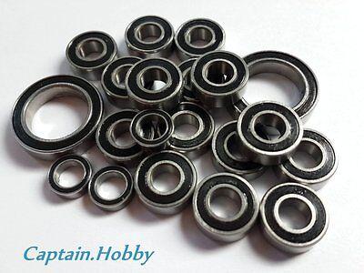 16pcs Ryu Double Metal Rubber Sealed Ball Bearing For Tamiya TT01//TT-01 Black