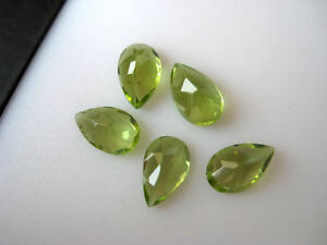 10-Pieces-Faceted-Pear-Shaped-Peridot-Calibrated-Gemstones-Cabochons-5x8mm-BB134