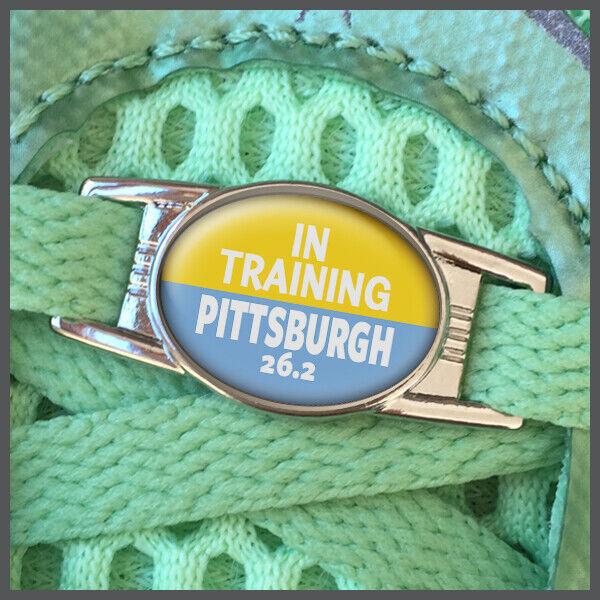 In Training Pittsburgh 26.2 Marathon Shoelace Sneaker Shoe Charm or Zipper Pull