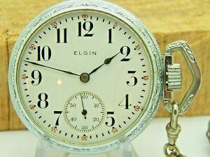 Serviced Antique Elgin Sidewinder pocket watch Grade 290 16 size 7 jewel w chain