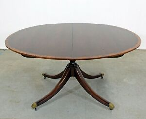 Chippendale-Regency-Baker-Cherry-Banded-Extendable-Dining-Table