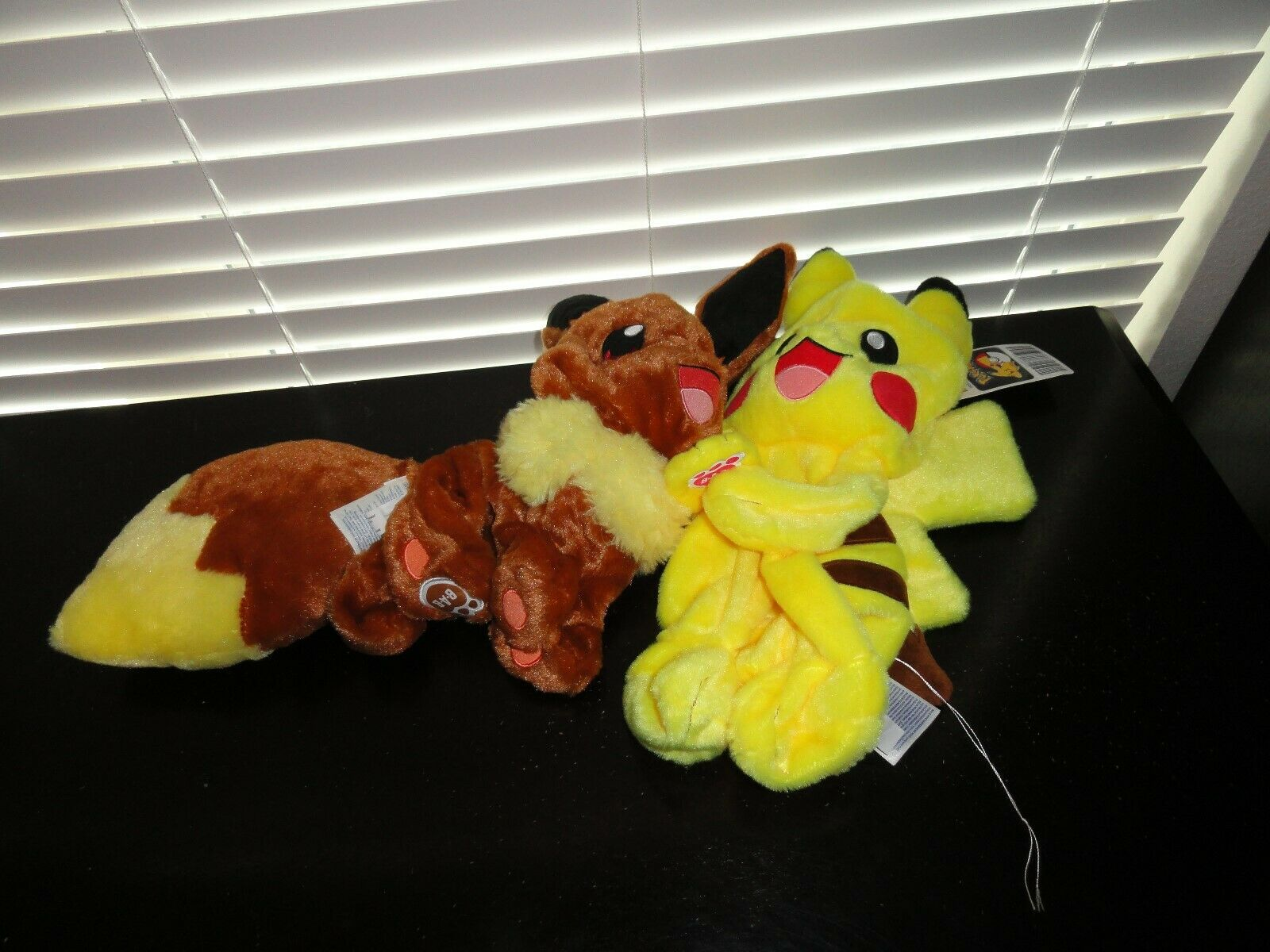 BUILD-A-BEAR WORKSHOP POKEMON 2016 PIKACHU & EEVEE NEW & UNSTUFFED WITH CARDS