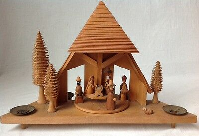 Vintage Democratic Republic of Germany Rotating Wooden Nativity Chalet As Is