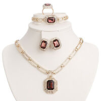 Wedding Party Necklace Set Jewelry Sets For Women Fashion CZ Gold Plated Pendant