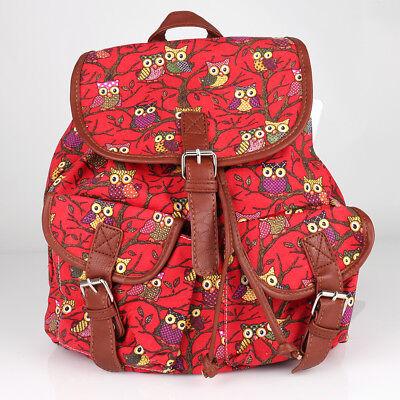Rucksack Shopper Schul Tasche Canvas Stoff Eulen Schulter Backpack Prints NEU