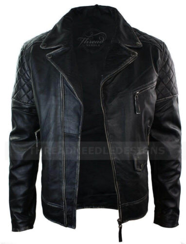 Biker Black Motorcycle Leather Style Genuine Men Distressed Vintage Jacket Tqt0w