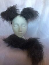 Husky Puppy Dog Floppy Ears & Tail Set Fancy Dress Fuffy Grey Fur One Size New