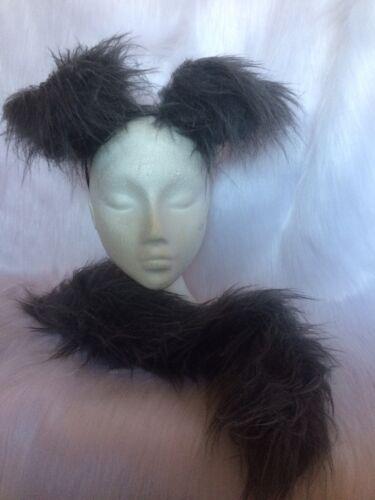 Husky Puppy Dog Floppy Ears /& Tail Set Fancy Dress Fuffy Grey Fur One Size New