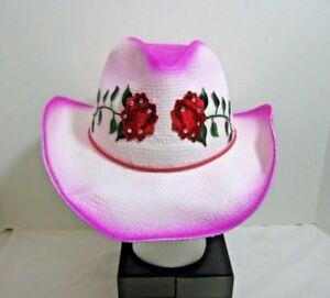 7c7c2ecf9ae Image is loading Rose-Toyo-Straw-Cowgirl-Hat-Roses-Rhinestones-White-