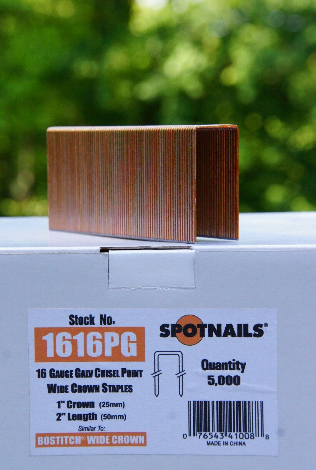 SPOTNAILS Staples chisel Point 16 gauge Galvanized 5000pk 8612PG 1//2 crown 1-1//2