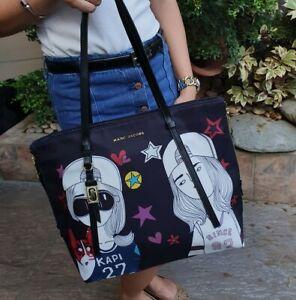Marc-Jacobs-Zip-Large-Tote-Bag-Womens-Nylon-Two-Lady-Print