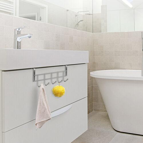 5 Hooks Over The Door Hooks Wash Room Hanger Clothes Towel Storage Holder 2