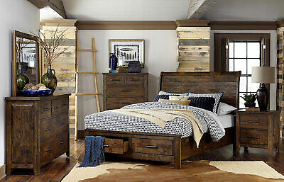 Transitional Rustic Brown Solid Wood 5 piece Bedroom Set w. King Storage  Bed A5K   eBay