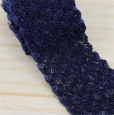1 Yard Chiffon Rose Flower Lace Edge Trim Wedding Bridal Applique Sewing Craft