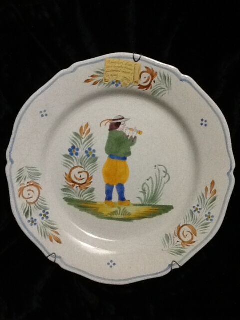 1 ASSIETTE DECORATIVE HENRIOT QUIMPER FRANCE FAIENCE ET SON SUPPORT VINTAGE