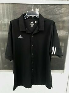 Details about Adidas Climacool Men's Button Up Short Sleeve Shirt Size L BLACK WHITE AND GRAY