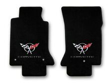 1997-2004 Corvette 2pc Black Carpet Floor Mats w Silver Corvette & C5 Flags Logo