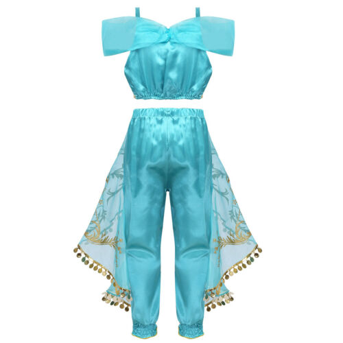 Kids Girls Sequins Princess Costume Outfit Glittery Cosplay Party Fancy Dress Up