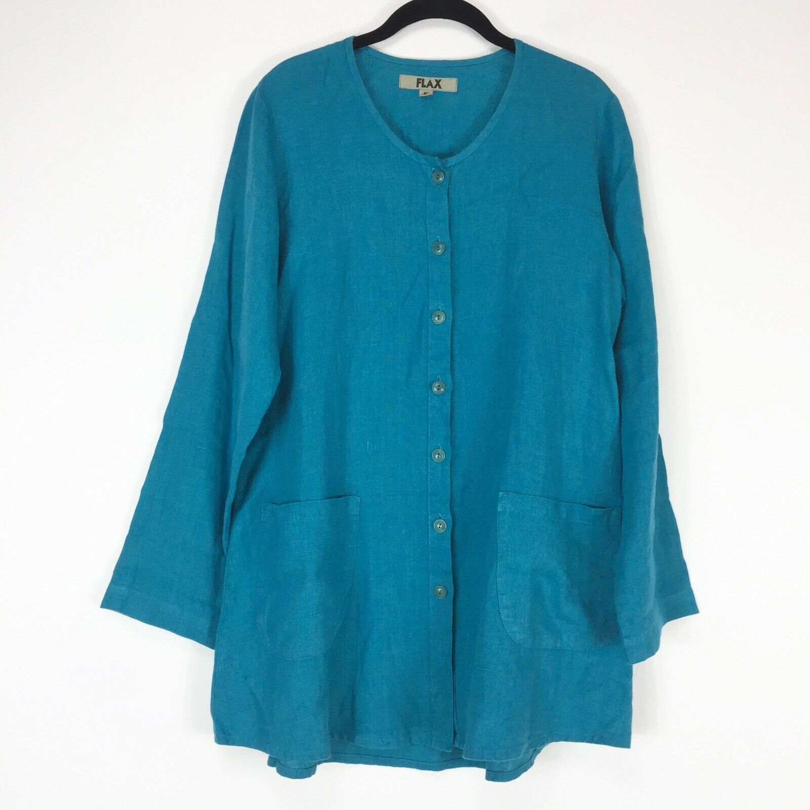 Flax Tunic Top Blouse Woherren P Small Button Front Pockets Turquoise Lagenlook