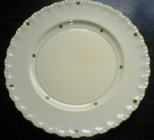 Grindley-10-inch-Cream-White-Plate-with-Green-Spots