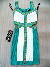 NWT bebe green white gold stud bandage cutout side club contrast dress XS 0 2