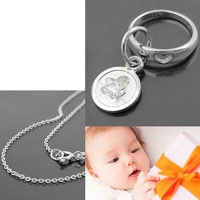 Baby Taufe Herz Im Ring Schutzengel Taufring Mit 38 Cm Kette Echt Silber 925 Neu QualitäT Zuerst