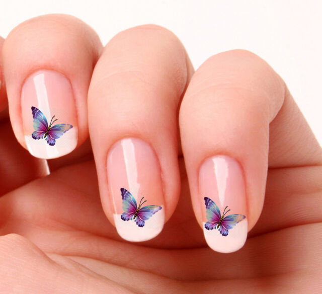 20 Nail Art Decals Transfers Stickers #37 - Blue Butterfly