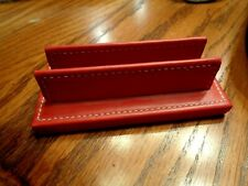Genuine Coach Red Leather Desk Top Business Card Holder 1 Euc