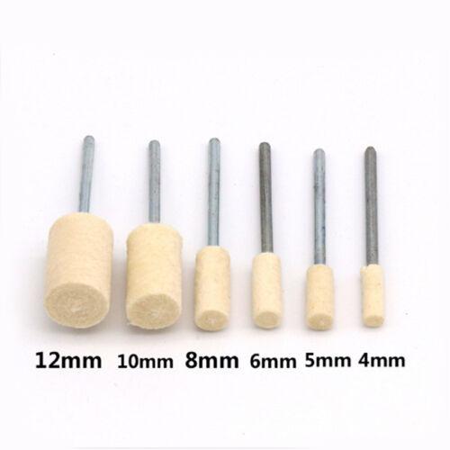 12pcs 4-12mm Cylindrical Wool Felt Polishing Buffing Wheels 2.35mm //3mm Mandrel