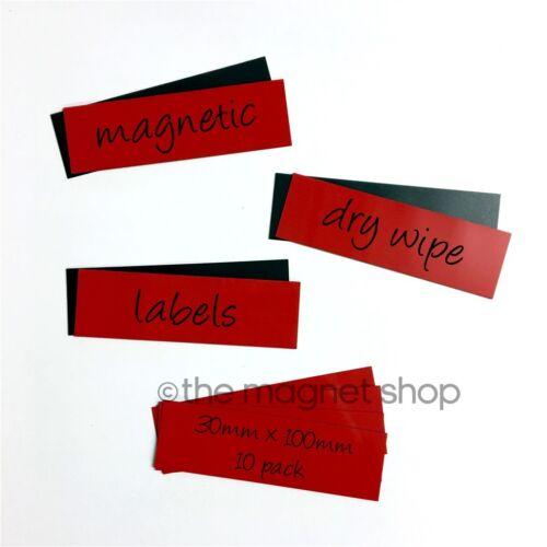 10 x Red Magnetic Dry Wipe Labels Whiteboard Precut 30mm x 100mm Shelf Racking