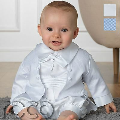 Baby Boys Christening Outfit, White Romper Suit, White & Blue baby Rompers