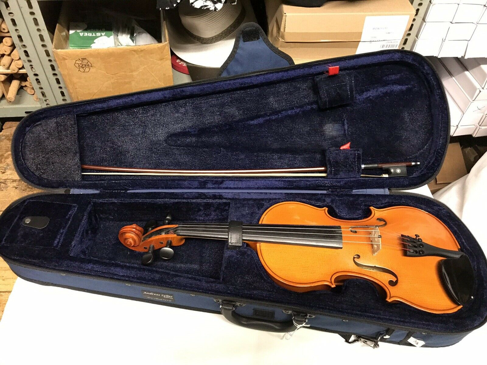 3 4 Größe Romanian Violin Outfit Labelled Andreas Zeller With Bow & Case