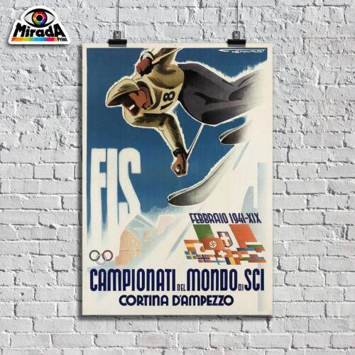 POSTER locandina Campionati Mondo SCI 1941 FIS Cortina d/'Ampezzo neve sport