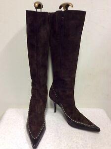 Knee Oppus Length 7 Boots Suede 40 Brown Leather Dark amp; Size q6Z6xXr