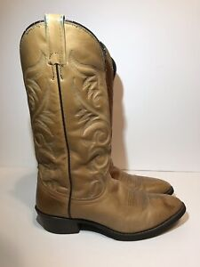 b92dd58fc99 Details about J Chisholm Cowboy Western Boots Mens Sz 8D Tan Brown Soft  Leather Handcrafted