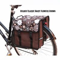 Bike Bicycle Double Pannier Bag Water Resistant Cycle Back Brown Flowers